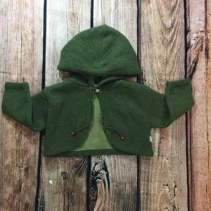 Other - Green short wool jacket with hoodie